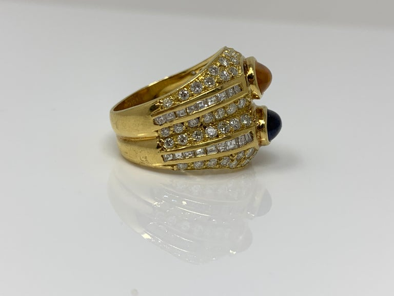 Women's or Men's Diamond, Yellow Sapphire and Blue Sapphire Twin Ring in Yellow Gold For Sale