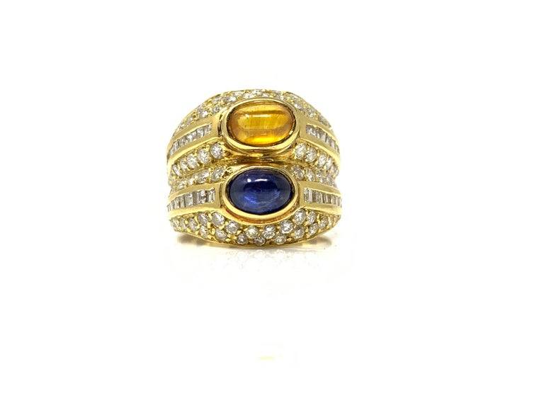 Diamond, Yellow Sapphire and Blue Sapphire Twin Ring in Yellow Gold For Sale 1