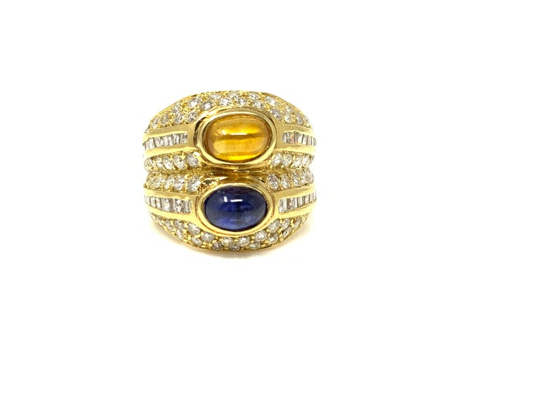 Diamond, Yellow Sapphire and Blue Sapphire Twin Ring in Yellow Gold For Sale 2