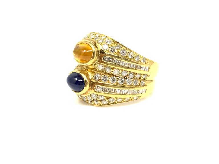Diamond, Yellow Sapphire and Blue Sapphire Twin Ring in Yellow Gold For Sale 3