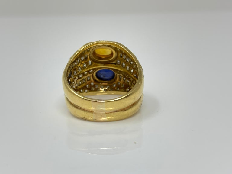 Diamond, Yellow Sapphire and Blue Sapphire Twin Ring in Yellow Gold For Sale 4