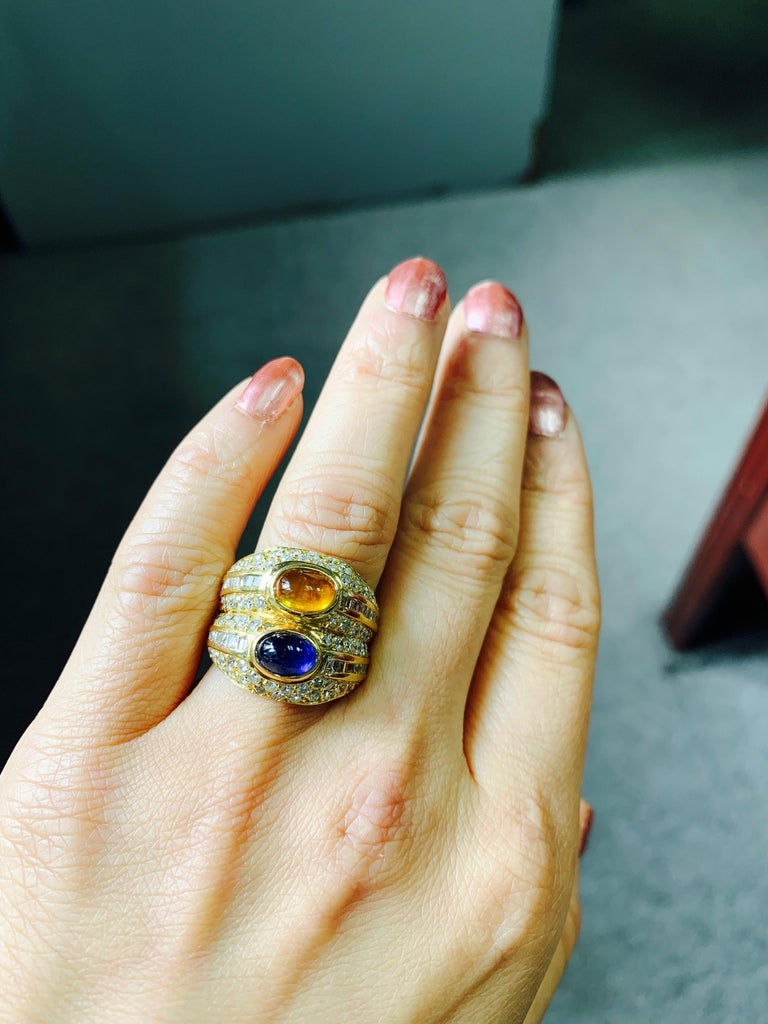 Diamond, Yellow Sapphire and Blue Sapphire Twin Ring in Yellow Gold For Sale 5
