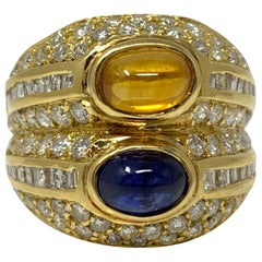 Diamond, Yellow Sapphire and Blue Sapphire Twin Ring in Yellow Gold