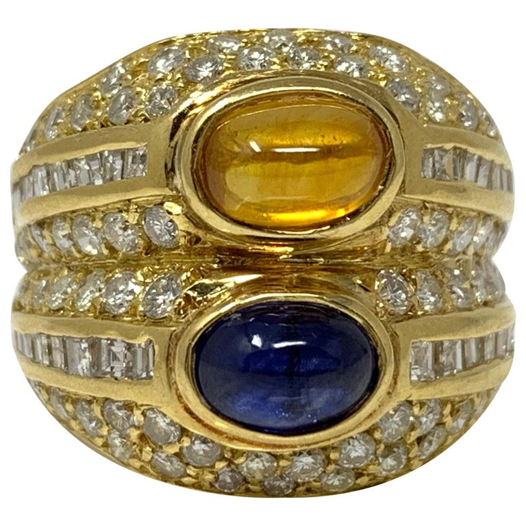 Diamond, Yellow Sapphire and Blue Sapphire Twin Ring in Yellow Gold For Sale