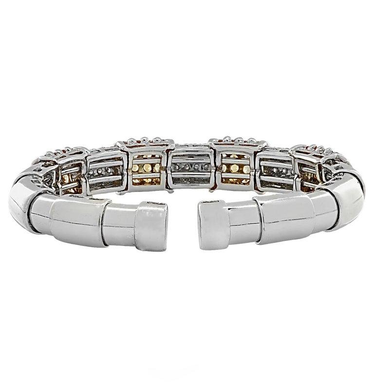 Modern Diamond and Yellow Sapphire Bangle Bracelet