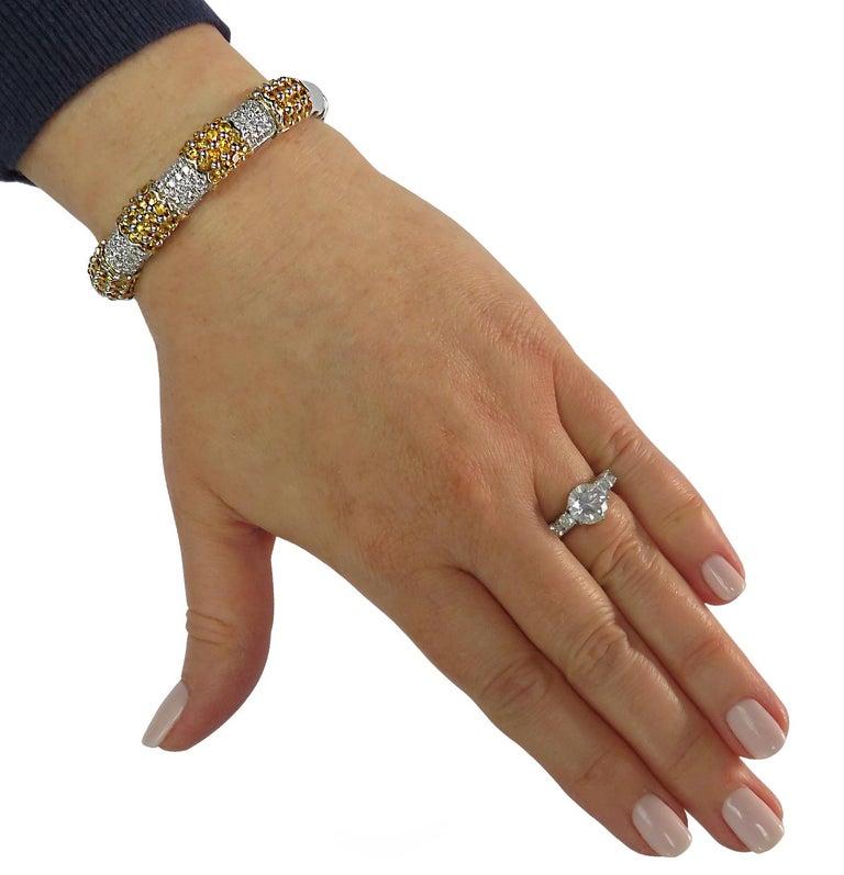 Round Cut Diamond and Yellow Sapphire Bangle Bracelet