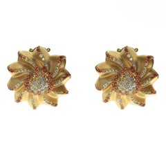 Diamond Yellow Sapphire Orange Sapphire 18 Karat Yellow Gold Cookie Earrings