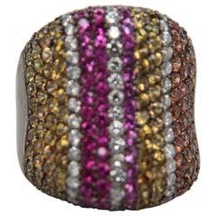 Diamond, Yellow Sapphire, Pink Sapphire and Garnet 18 Karat Gold Ring