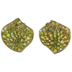 Diamond Yellow Sapphires Titanium 18 KT Gold Made in Italy Earrings