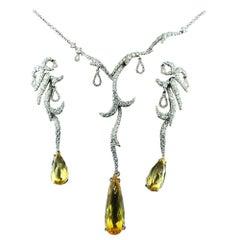 Diamond Yellow Topaz 18 Karat White Gold Set by Palmiero