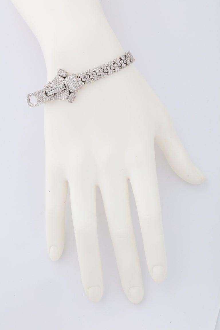 Women's or Men's Diamond Zipper Bracelet For Sale