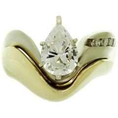 Diamond Zircon 14 Karat Two-Tone Gold Engagement Ring