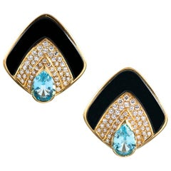 Diamond, Blue Topaz and Onyx Earrings