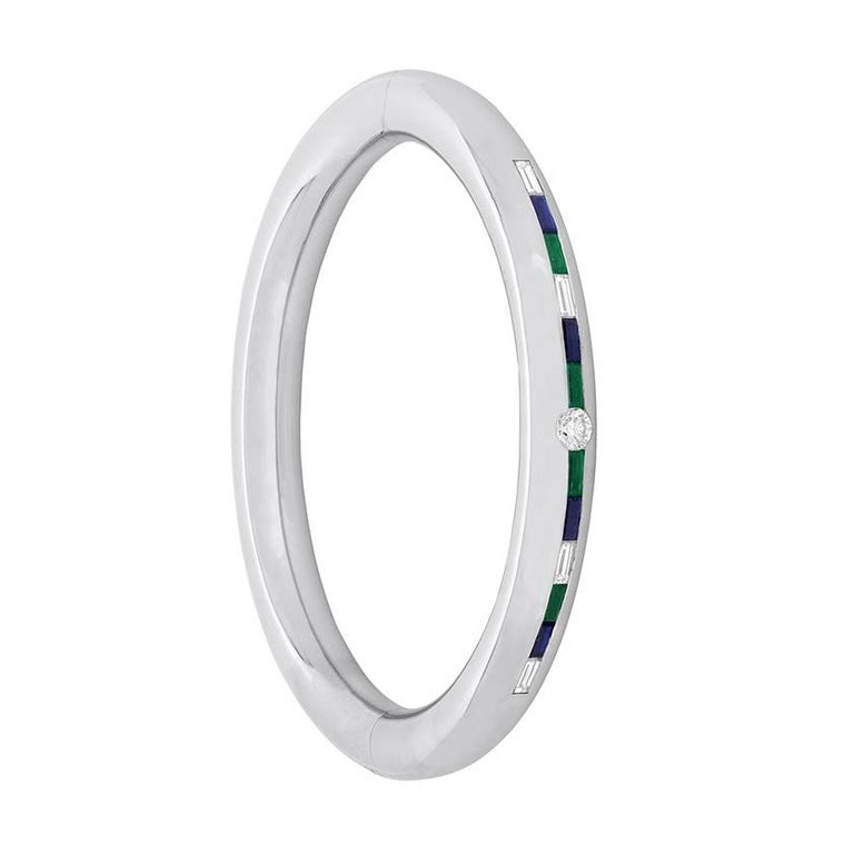 Diamond, Emerald and Sapphire 1970s Bangle