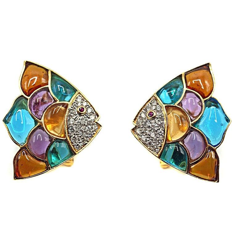 Diamond, Ruby, Multicolored Glass 18 Karat Gold Tropical Fish Ear Clips