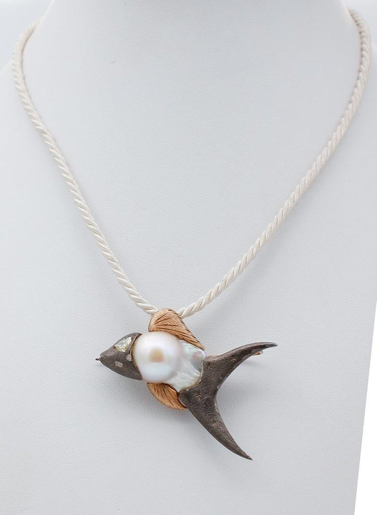 Retro Diamond, Baroque Pearl 9 Karat Rose Gold and Silver Fish Brooch/Pendant Necklace For Sale