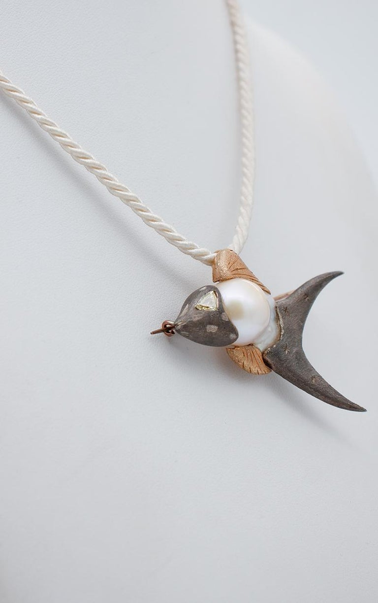 Mixed Cut Diamond, Baroque Pearl 9 Karat Rose Gold and Silver Fish Brooch/Pendant Necklace For Sale