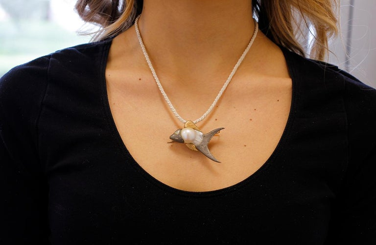 Women's Diamond, Baroque Pearl 9 Karat Rose Gold and Silver Fish Brooch/Pendant Necklace For Sale