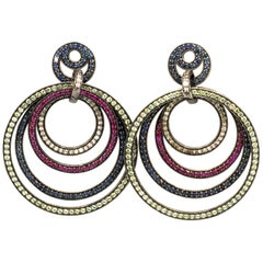 Diamonds 1.0 Carat and Sapphires 6.3 Carat and Rubies 1.8 Carat Earrings Silver