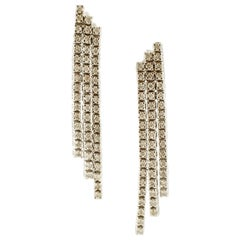 Diamonds, 14 Karat White Gold Fashion Drop Earrings