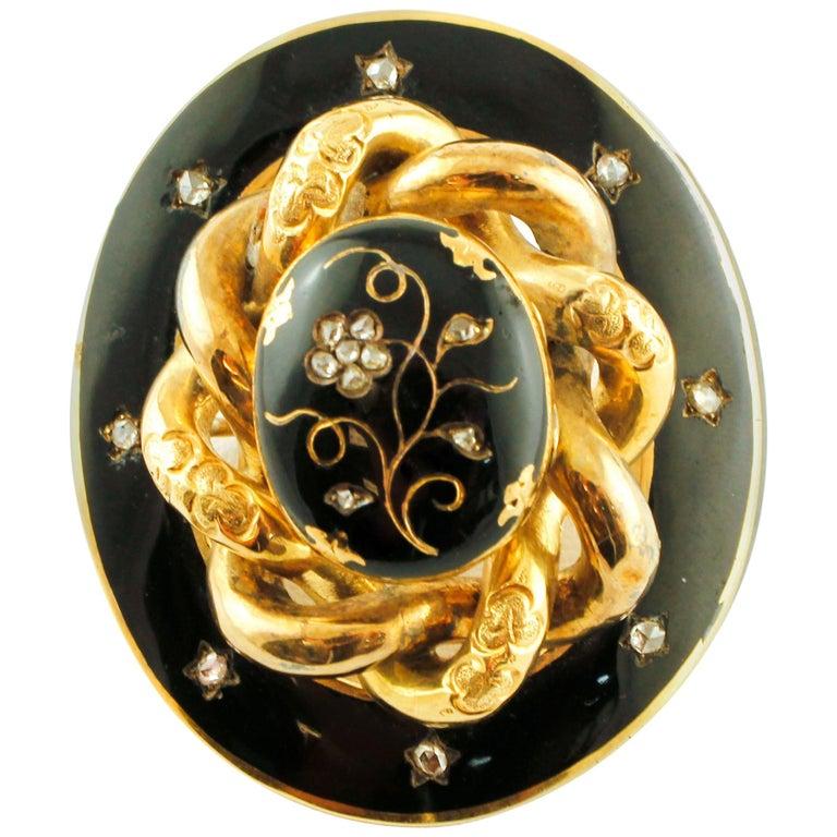 Diamonds, 14 Karat Yellow Gold and Enamel Gold, Retro Brooch For Sale