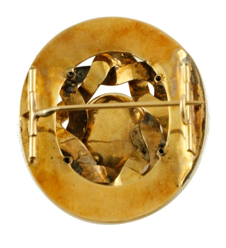 Women's Diamonds, 14 Karat Yellow Gold and Enamel Gold, Retro Brooch For Sale
