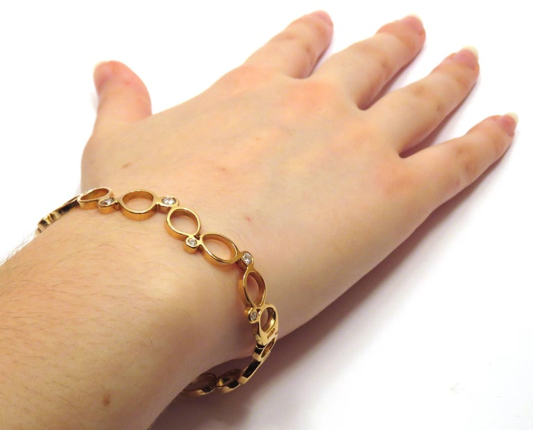 Round Cut 18Kt Rose Gold Diamonds Bracelet Hand Crafted in Italy by Botta Gioielli For Sale