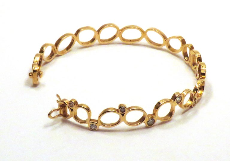18Kt Rose Gold Diamonds Bracelet Hand Crafted in Italy by Botta Gioielli For Sale 1