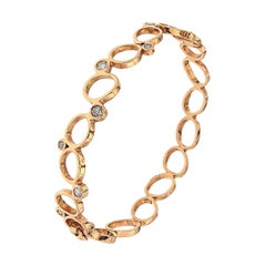 18Kt Rose Gold Diamonds Bracelet Hand Crafted in Italy by Botta Gioielli
