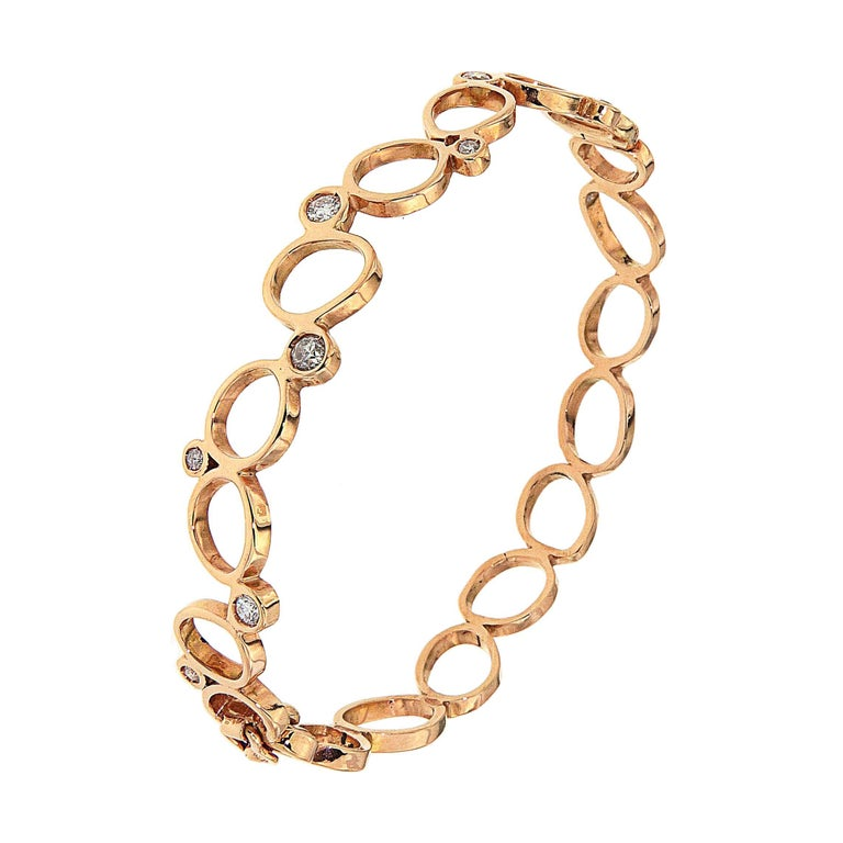 18Kt Rose Gold Diamonds Bracelet Hand Crafted in Italy by Botta Gioielli For Sale