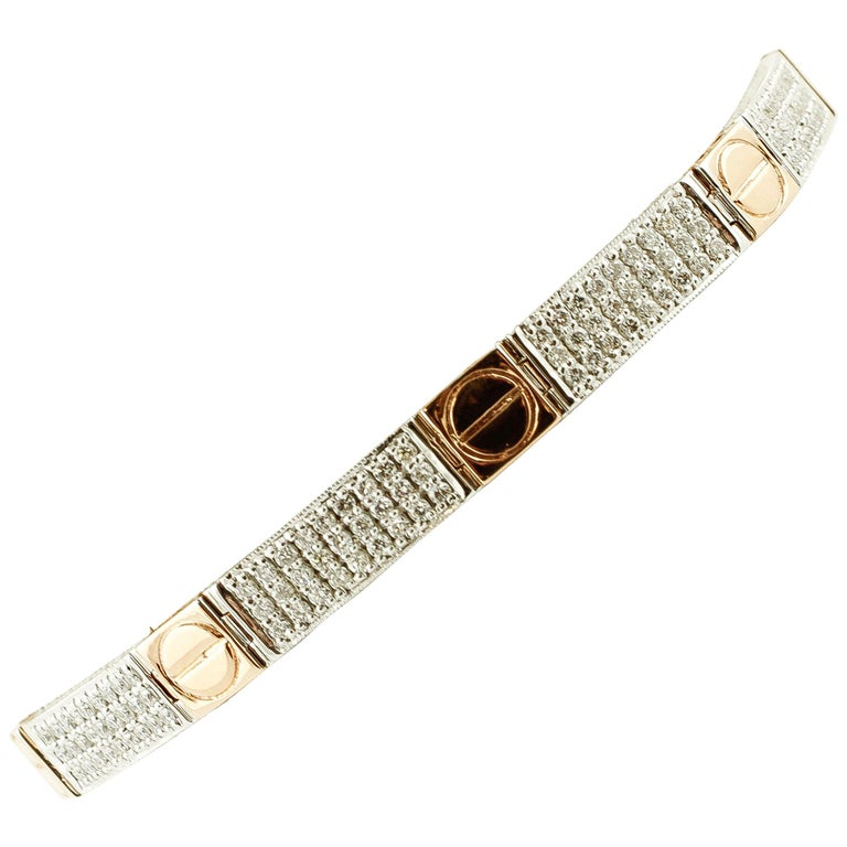 2f3793ecf Diamonds, 18 Karat White and Rose Gold Band Bracelet For Sale at 1stdibs