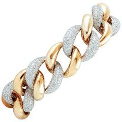 Diamonds, 18 Karat White and Rose gold Chain Bracelet