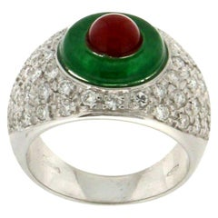 Diamonds 18 Karat White Gold Agate and Coral Band Ring