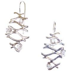 Diamonds 18 Karat White Gold Drop Earrings Handcrafted in Italy