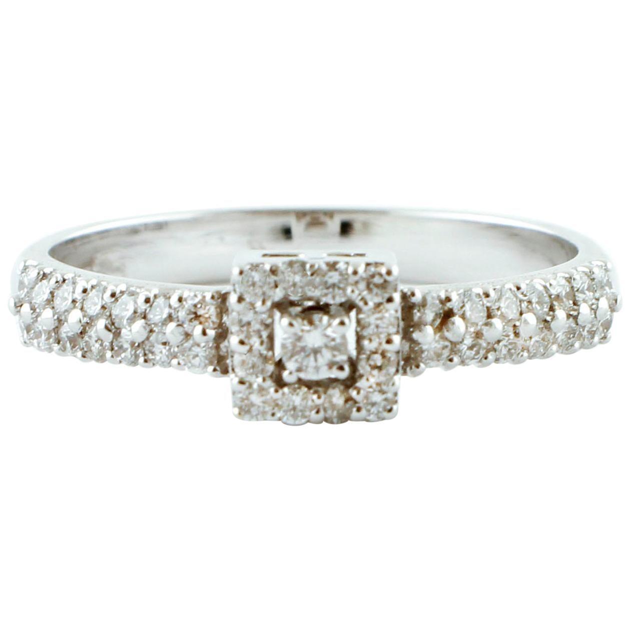 Diamonds, 18 Karat White Gold Engagement Ring