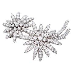 Diamonds, 18 Karat White Gold Flower Shape Brooch