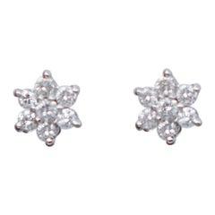 Diamonds, 18 Karat White Gold Flower Stud Earrings