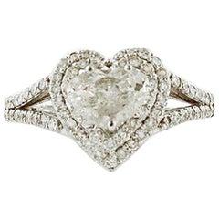 Diamonds, 18 Karat White Gold Heart-Shape Engagement Ring