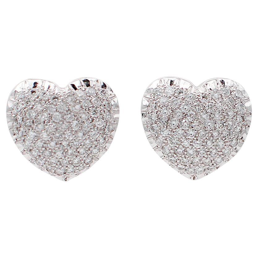 Diamonds, 18 Karat White Gold Heart Shaped Earrings