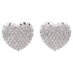 Diamonds, 18 Karat White Gold Heart Shaped Earrings