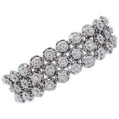 Diamonds, 18 Karat White Gold Link Bracelet