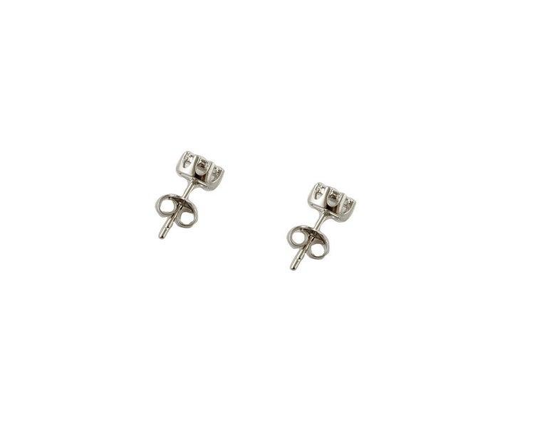 Brilliant Cut Diamonds, 18 Karat White Gold Stud Earrings For Sale