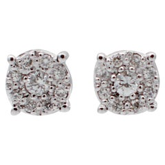 Diamonds, 18 Karat White Gold Stud Earrings
