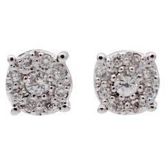 Diamonds, 18 Karat White Gold Stud Earrings