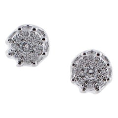 0,42 ct Diamonds, 18 Karat White Gold Stud Earrings