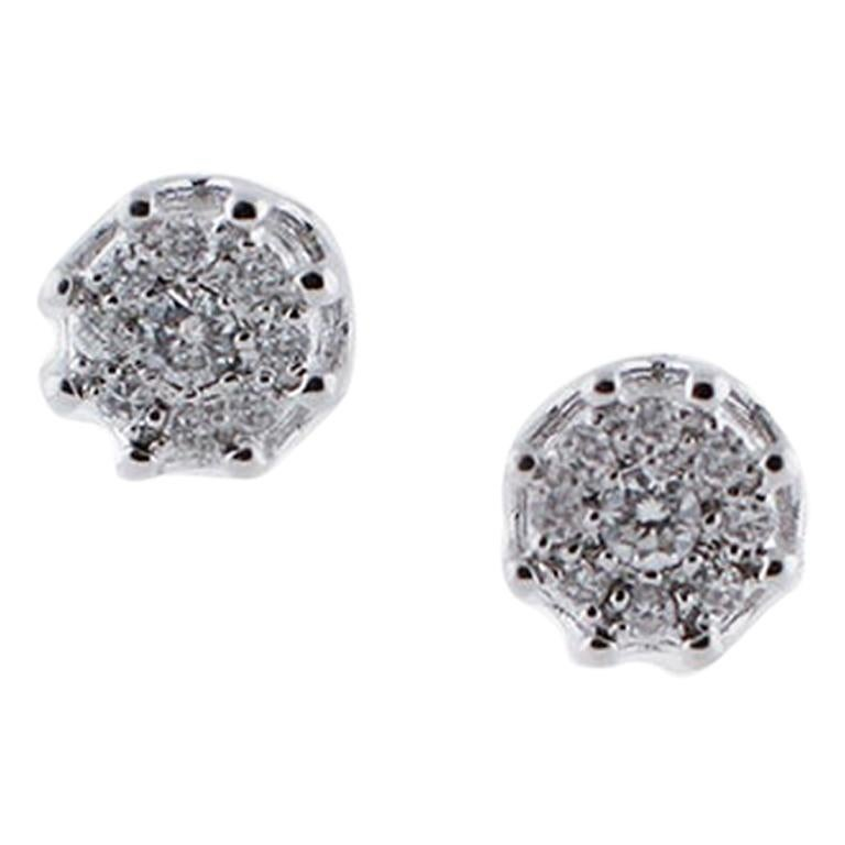 Diamonds, 18 Karat White Gold Stud Earrings For Sale