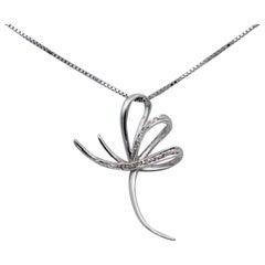 Diamonds, 18 Karat White Gold Stylized Cross Pendant Necklace
