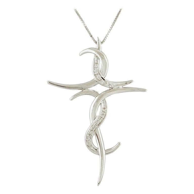Diamonds, 18 Karat White Gold Stylized Cross Pendant Necklace For Sale