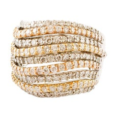 Diamonds, 18 Karat White, Rose and Yellow Gold Band Ring