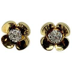 Diamonds 18 Karat Yellow and White Gold Flower Earrings
